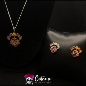 925 Sterling Silver Frida Necklace & Earrings